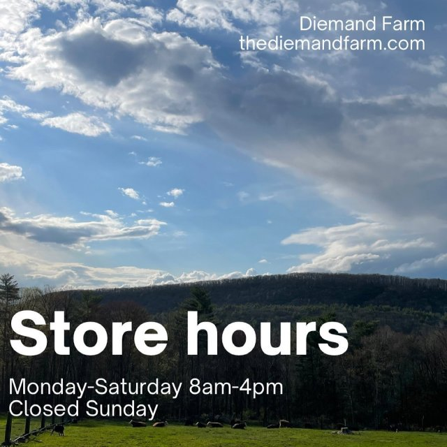 As of May 1st, we'll be open a little bit earlier! ⏰ . . . #diemandfarm #wendellma #farmstore #newhours #shoplocal #familyfarm #westernma #franklincounty #pioneervalley #othersidema #visitwesternma #igers413 #newengland_igers #igersmass #massachusetts_igers #navigatingnewengland
