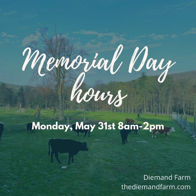 We'll be closing early on Memorial Day ⏰ . . . #diemandfarm #wendellma #farmstore #shoplocal #familyfarm #westernma #franklincounty #pioneervalley #bealocalhero #othersidema #visitwesternma #igers413 #newengland_igers #igersmass #massachusetts_igers #navigatingnewengland #roadtripnewengland #memorialday #holidayhours