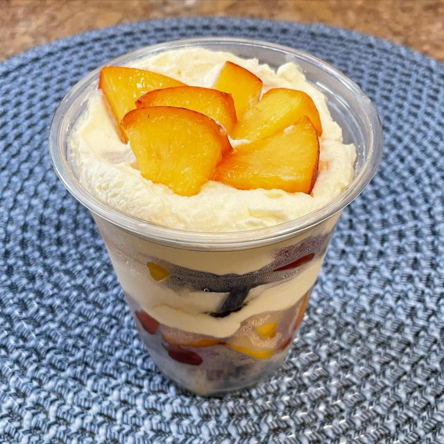 In honor of peach season and our good friends at @clarkdalefruitfarms, stop by to grab one of our peach shortcake parfaits. Made with local peaches, homemade pound cake and whipped cream! 🍑 . . . #diemandfarm #wendellma #farmstore #buylocal #eatlocal #familyfarm #westernma #franklincounty #pioneervalley #bealocalhero #othersidema #visitwesternma #igers413 #newengland_igers #igersmass #peachseason #parfait